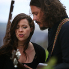 Joy Williams and John Paul White of The Civil Wars perform backstage during the Sasquatch! Music Festival.