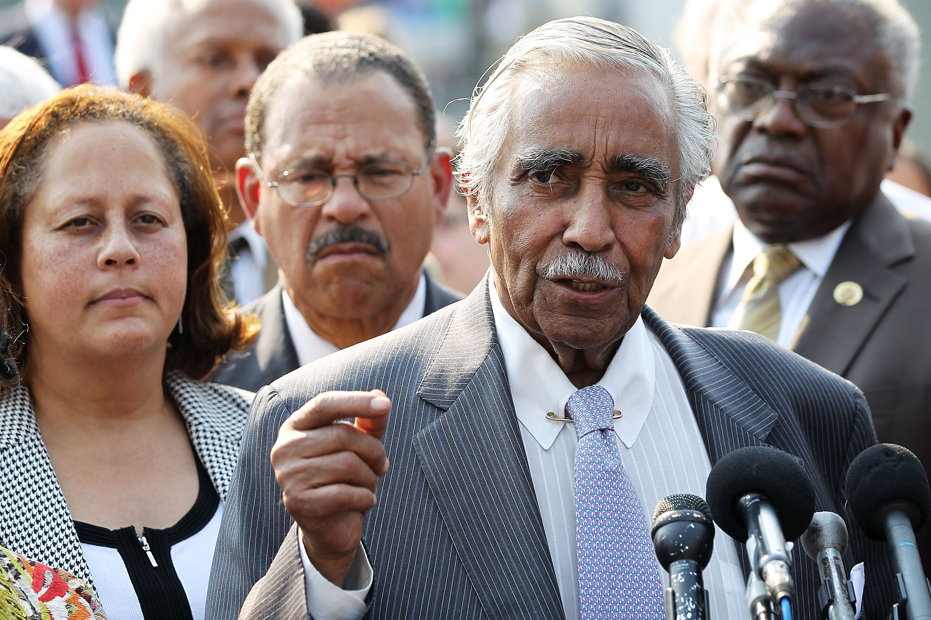 IN: New York Democratic Rep. Charles Rangel speaks during a news conference in Washington in June.