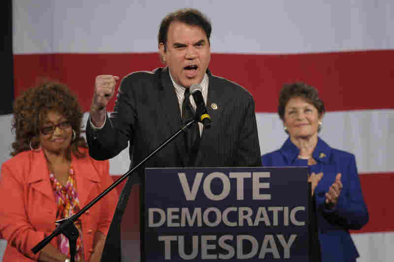 IN: Florida Democratic Rep. Alan Grayson pumps up the crowd at a state Democratic Party rally in Orlando in 2010.