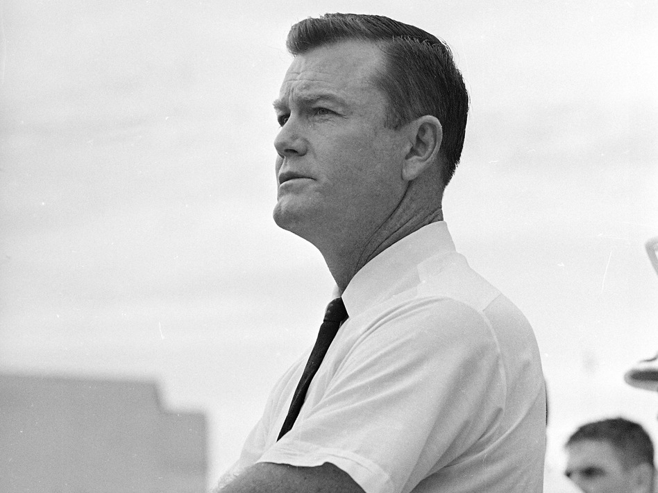 University of Texas football coach Darrell Royal during a game against Oklahoma in 1962.