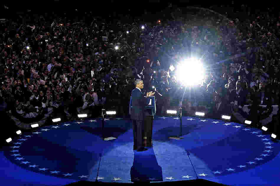 President Obama speaks at his election night party Wednesday in Chicago after defeating Republican challenger Mitt Romney.