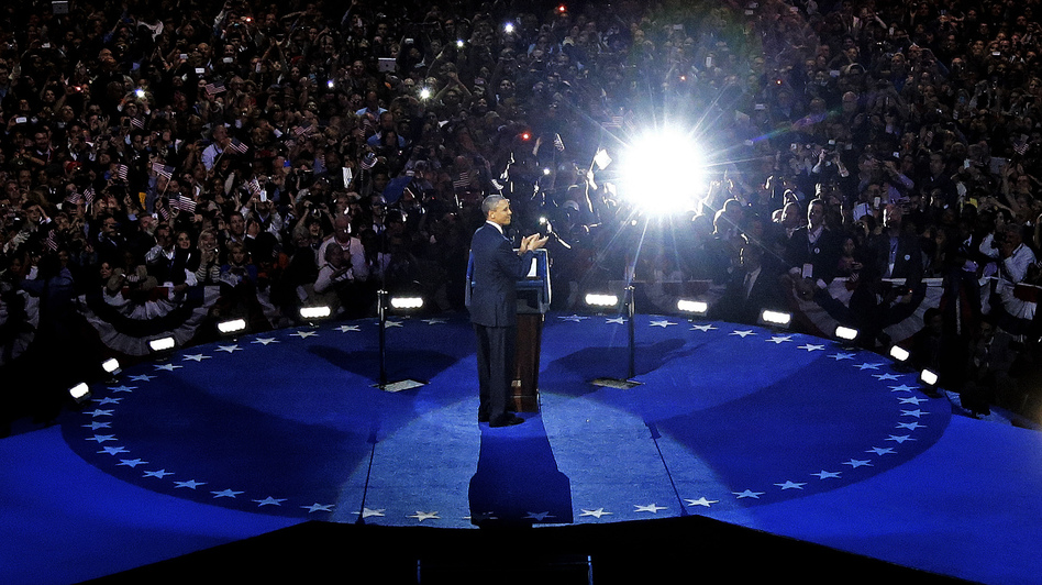 President Obama speaks at his election night party Wednesday in Chicago after defeating Republican challenger Mitt Romney. (AP)