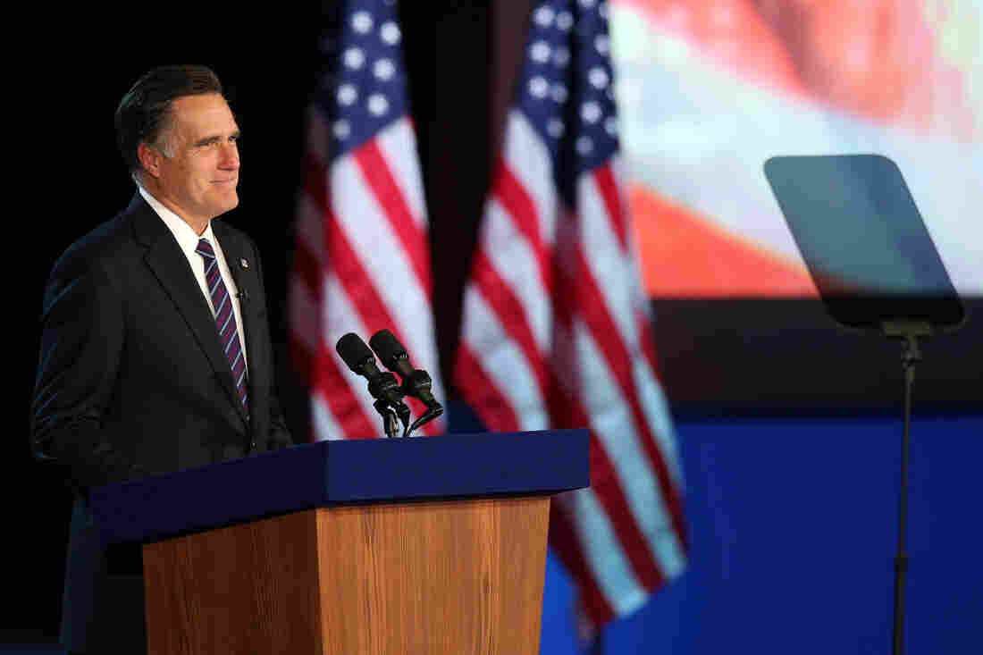 Former Massachusetts Gov. Mitt Romney concedes the presidential election at a campaign event in Boston.