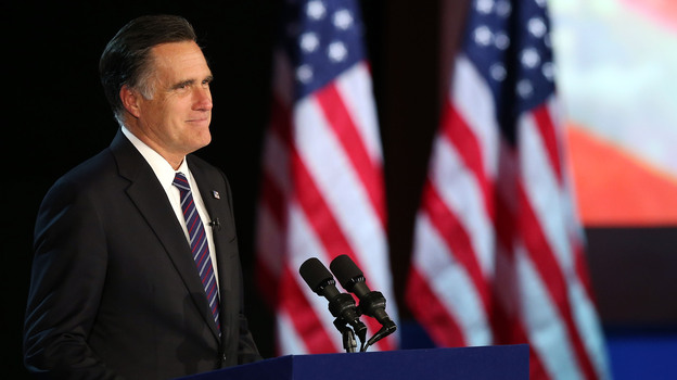Former Massachusetts Gov. Mitt Romney concedes the presidential election at a campaign event in Boston. (Getty Images)
