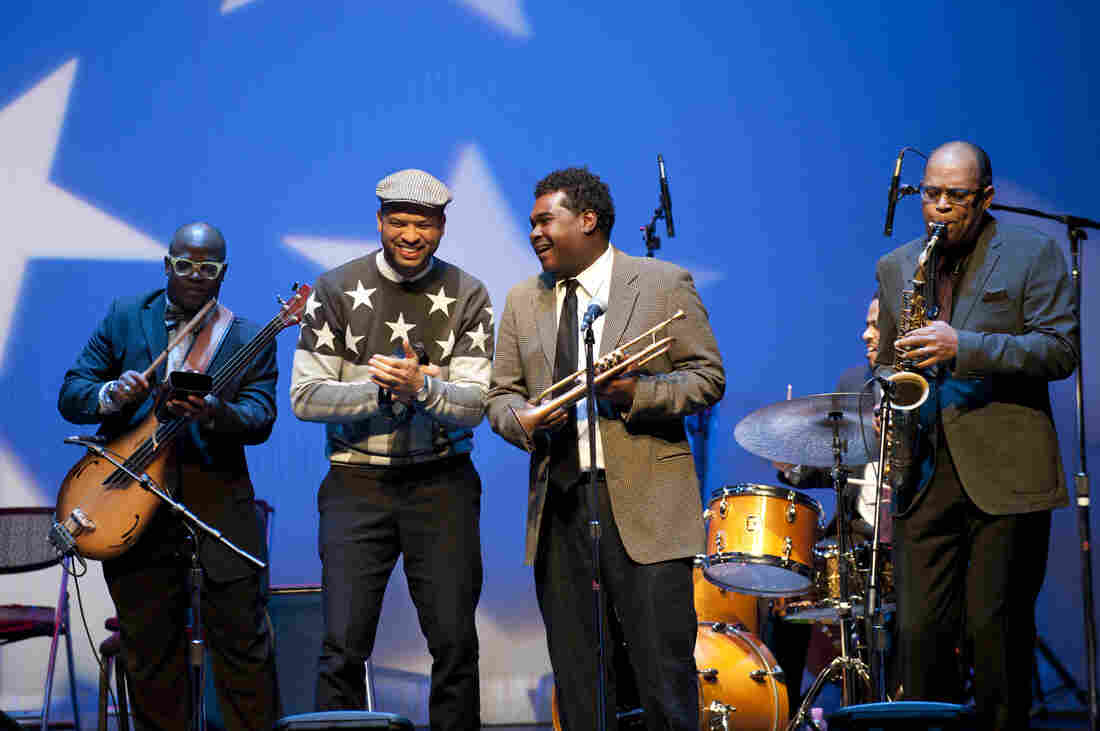 Left to right: Tarus Mateen, Jason Moran, Donvonte McCoy, Nasheet Waits and Marshall Keys perform at the Kennedy Center's Election Night Jam.