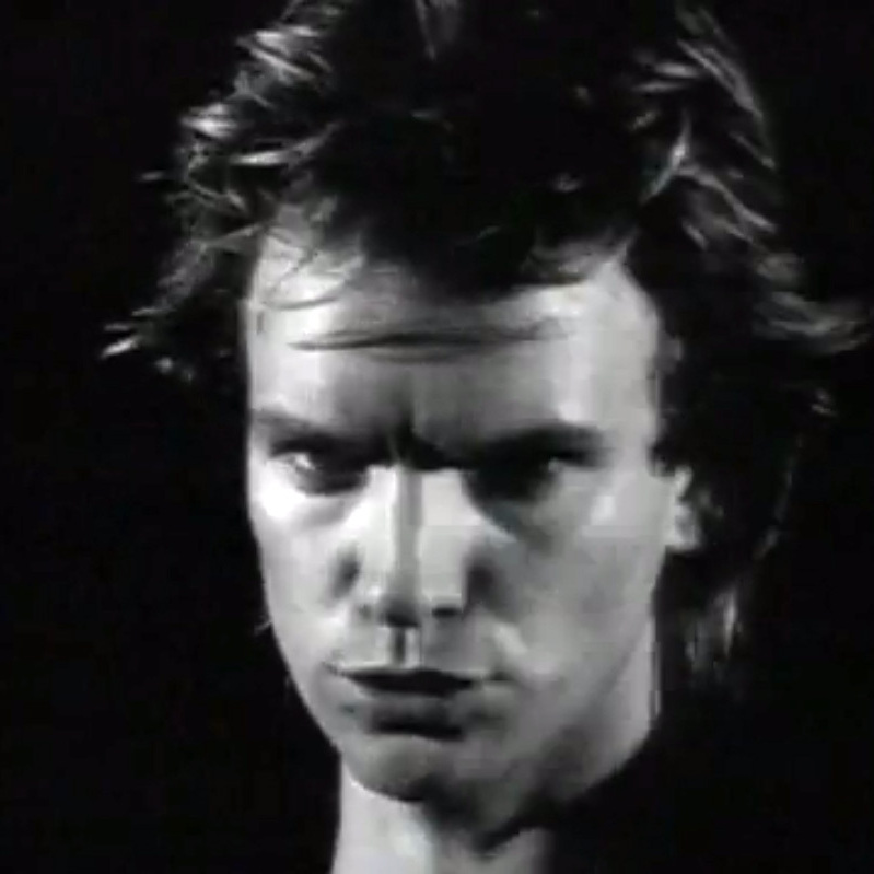 "Sting singing in the video for ""Every Breath You Take."""