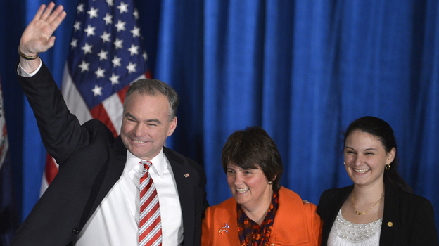 Former Virginia Gov. Tim Kaine is joined by his wife and daughter in celebrating his Senate victory over Republican George Allen. (UPI /Landov)
