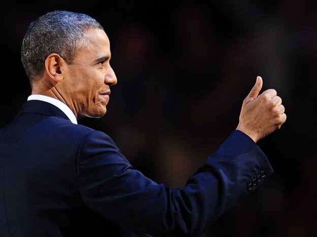 President Obama celebrating early this morning in Chicago.