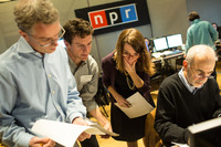 Deputy Washington Editor Beth Donovan (center right) briefs pollsters and analysts before they go on-air.