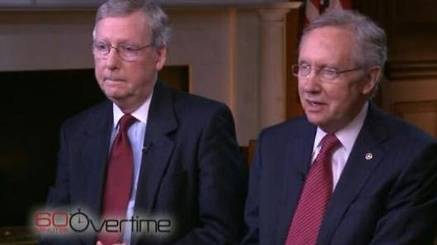 Senate Minority Leader Mitch McConnell of Kentucky (left) and Senate Majority Leader Harry Reid of Nevada during their recent interview with CBS News' 60 Minutes.