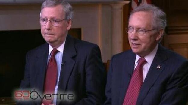 Senate Minority Leader Mitch McConnell of Kentucky (left) and Senate Majority Leader Harry Reid of Nevada during their recent interview with CBS News' <em>60 Minutes</em>.