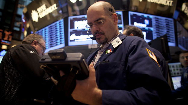 On the floor of the New York Stock Exchange this morning. (Getty Images)