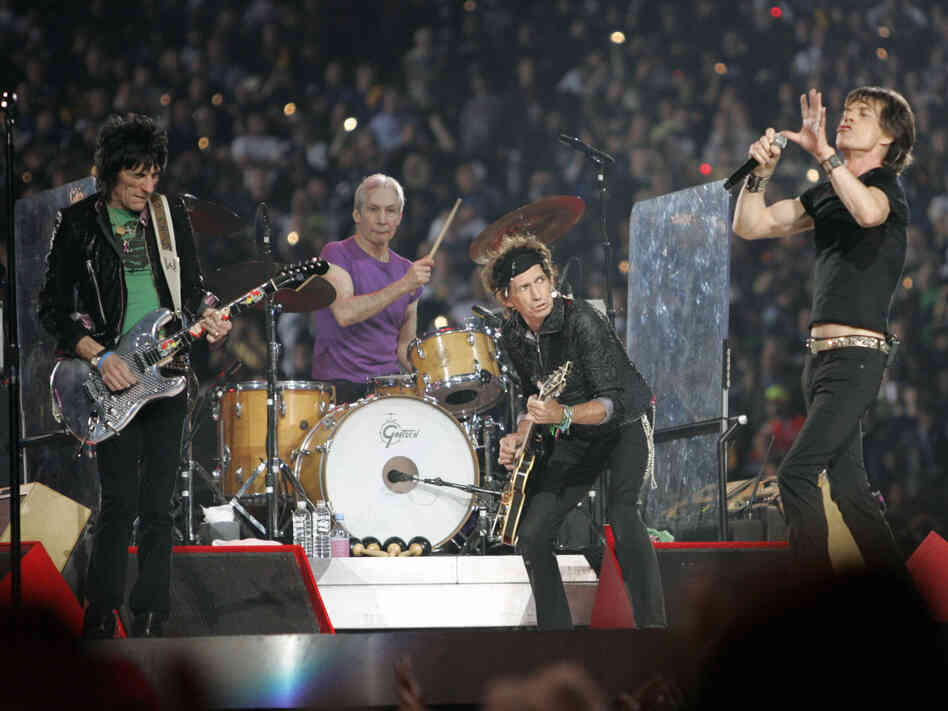 The Rolling Stones performing live at halftime of the Super Bowl XL.