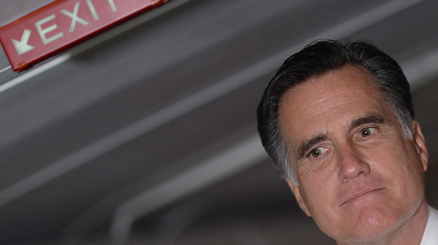 "Mitt Romney talks to reporters on his campaign plane on Election Day. ""I'm very proud of the campaign we've run,"" he said. ""No campaign is perfect."" (AFP/Getty Images)"