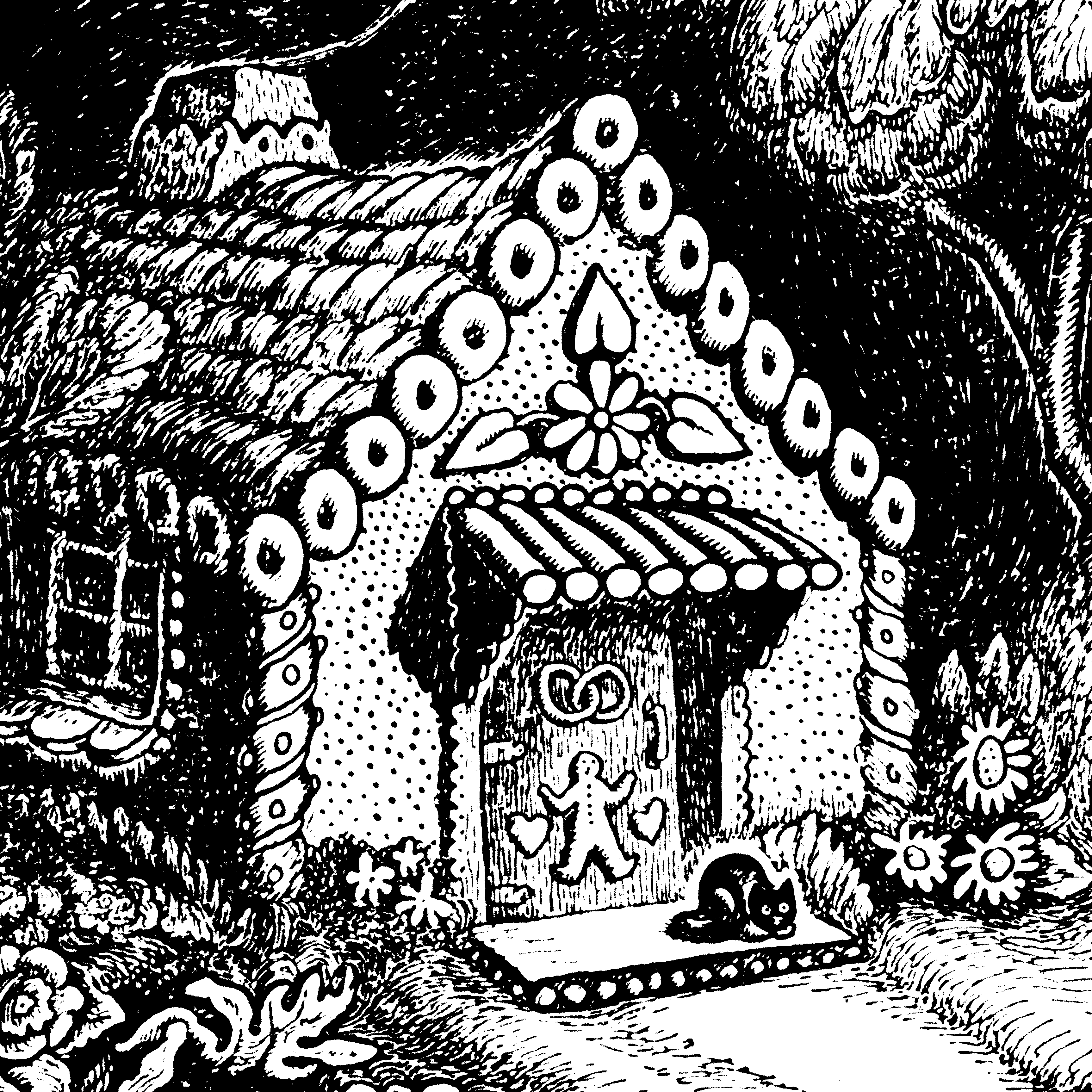 Brother and sister make their fateful first sighting of the witch's house made of gingerbread in Hansel and Gretel.