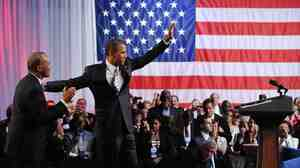 Massachusetts Gov. Deval Patrick introduces President Obama at a Democratic Nationa