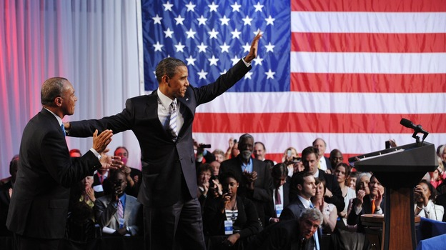 Massachusetts Gov. Deval Patrick introduces President Obama at a Democratic National Committee fundraiser last year. Could Patrick be chosen to replace Eric Holder as attorney general? (AFP/Getty Images)