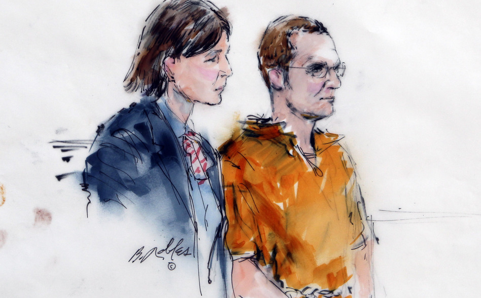 In this artist rendering, Jared Lee Loughner, right, makes a court appearance with his lawyer, Judy Clarke, at the Sandra Day O'Connor United States Courthouse in Phoenix, Ariz. in January.