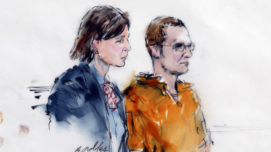 In this artist rendering, Jared Lee Loughner, right, makes a court appearance with his lawyer, Judy Clarke, at the Sandra Day O'Connor United States Courthouse in Phoenix, Ariz. in January. (AP)
