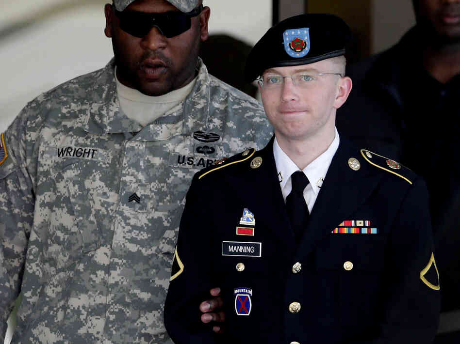 Army Pfc. Bradley Manning (right) is escorted out of a courthouse in Fort Meade, Md., on June 25, 2012. His lawyer announced that Manning, who is accused of leaking classified information to Wi