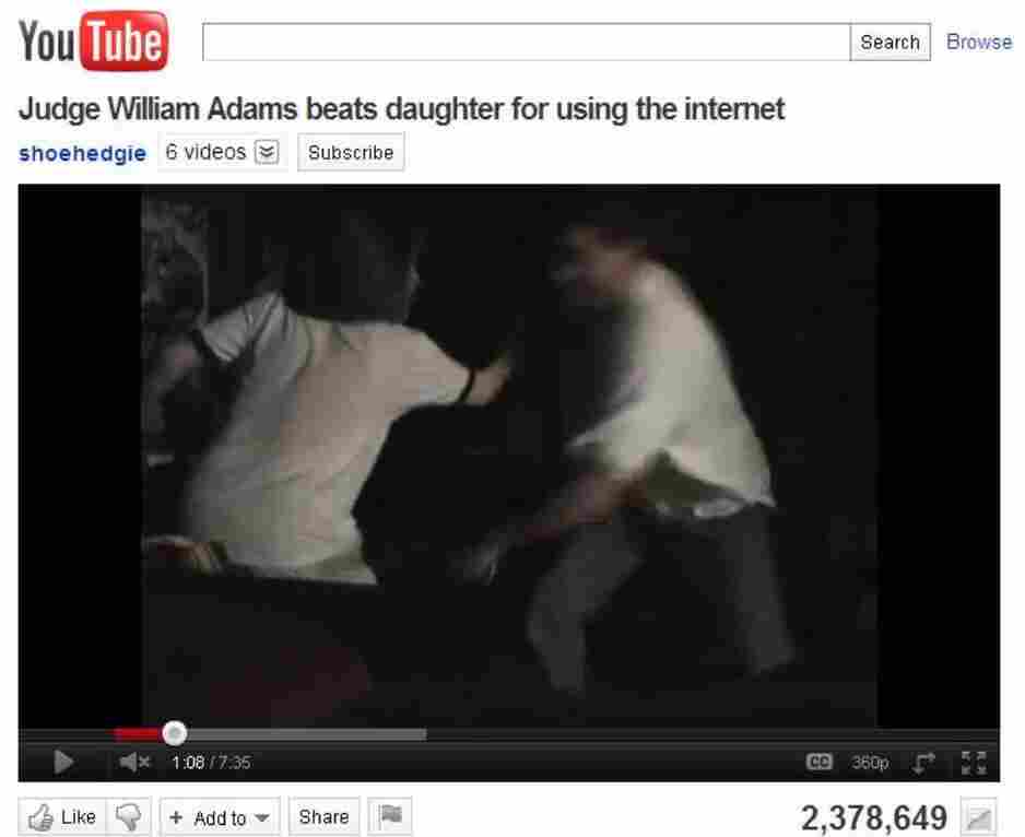 Hillary Adams (left) as her father was striking her with a belt. She set up a video camera to record what she says was one of many such beatings.
