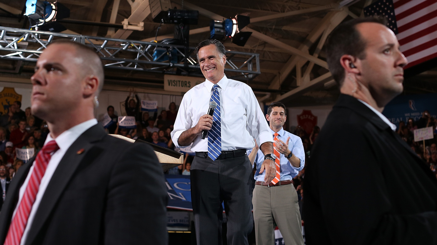 For Romney: 15-Car Motorcade To Concession Speech; One Car To Get Home :  The Two-Way : NPR