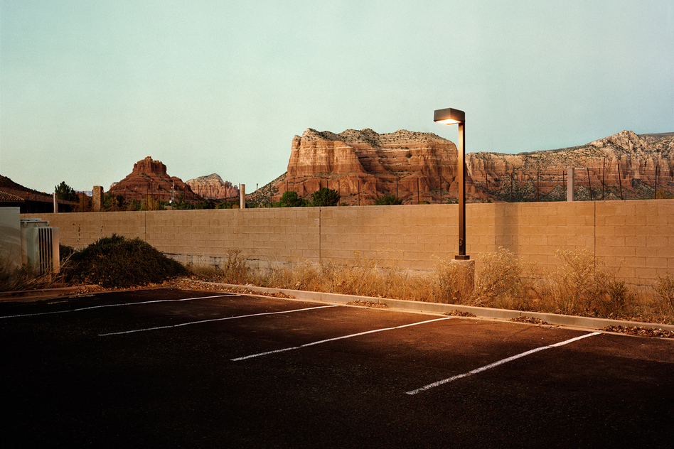 "<a href=""http://flakphoto.com/exhibition/looking-at-the-land#photo-37"">Parking Lot</a>, Sedona, Ariz., 2010"
