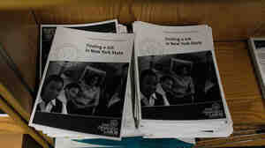Job-related booklets at a New York State Department of Labor Employment Services office in Brooklyn.