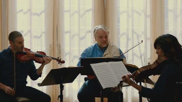 Mark Ivanir, Philip Seymour Hoffman, Christopher Walken and Catherine Keener as the Fugue String Quartet. (courtesy of Entertainment One Films)