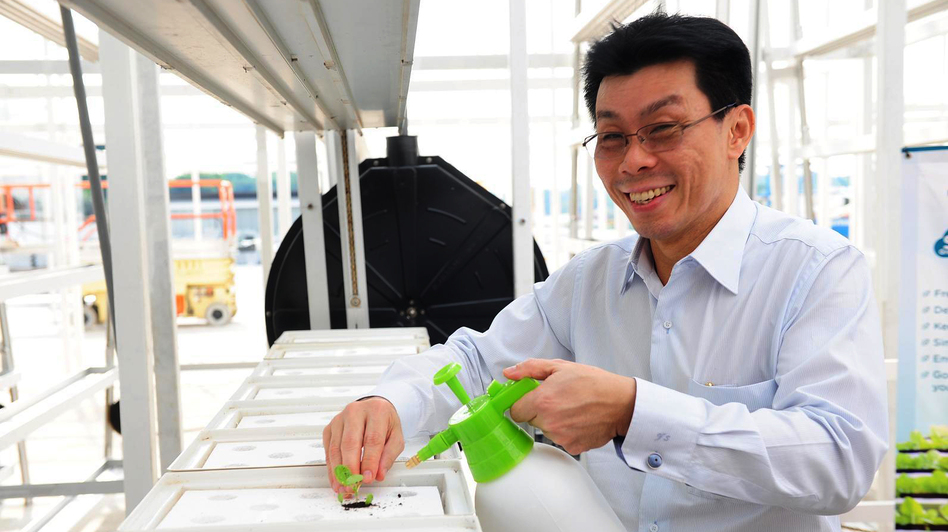 Senior Minister of State Lee Yi Shyan transplants some leafy green seedlings at the grand opening of Singapore's first commercial vertical farm. (Courtesy of MNDSingapore.)