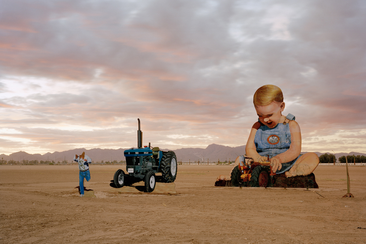 Baby With Tractor At Sunset (Vandalized Cerney/Sun Kim Sculpture), Phoenix, 2009