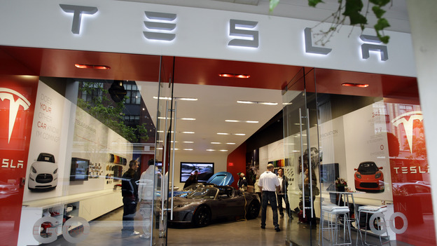A Tesla Motors showroom in San Jose, Calif. Car dealers in New York and Massachusetts have filed a lawsuit that seeks to block Tesla from selling its vehicles in those states. (AP)