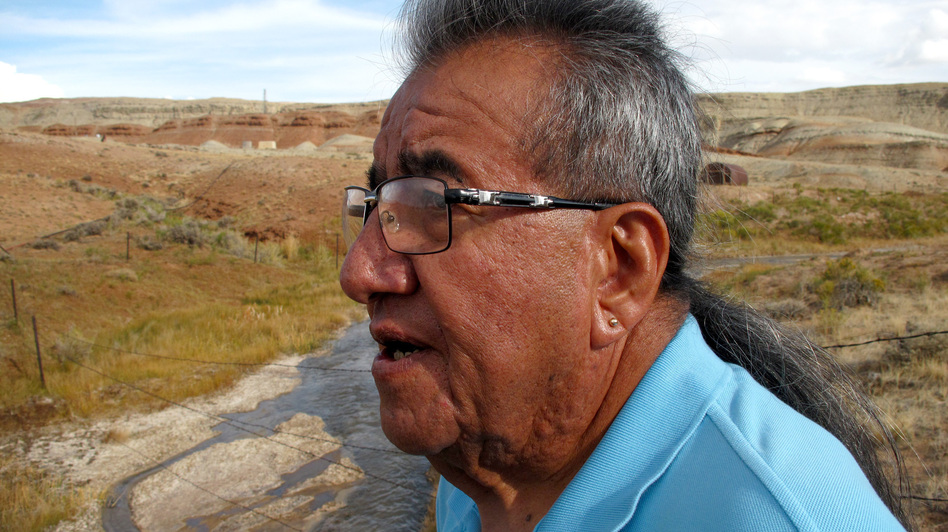 "Wes Martel, vice chairman for the Eastern Shoshone Business Council, stands near a murky gray stream full of oil field wastewater. He's concerned about the effects the wastewater has on wildlife, water quality and, since cows drink it, he wonders: ""What's in your steak?"" (NPR)"