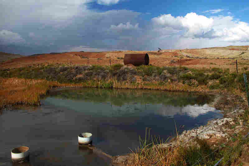 The EPA requires that the wastewater streams show no obvious sheen and no solid deposits. But both were visible near oil fields on the Wind River Reservation in Wyoming during a 2012 visit.