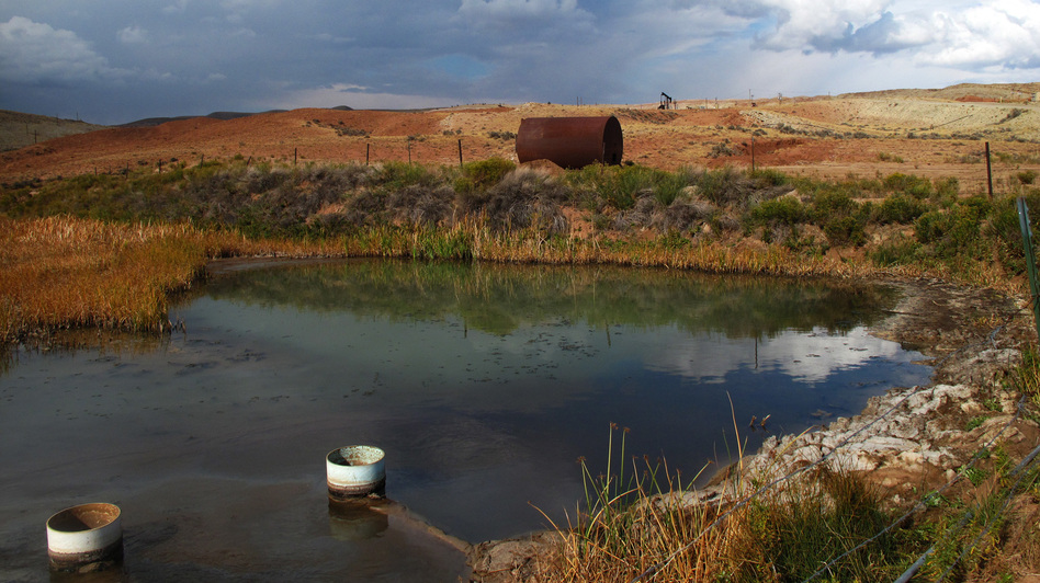 The EPA requires that the wastewater streams show no obvious sheen and no solid deposits. But both were visible near oil fields on the Wind River Reservation in Wyoming. (NPR)