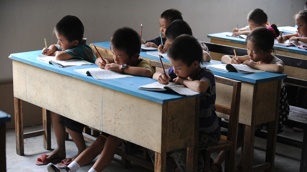 Chinese schoolchildren during lessons at a classroom in Hefei, east China's Anhui province, in 2010. (AFP/Getty Images)