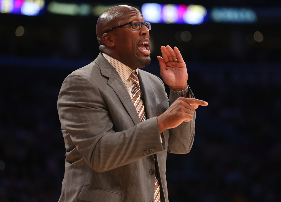 Former head coach Mike Brown of the Los Angeles Lakers gives instructions during the game against the Los Angeles Clippers in November.