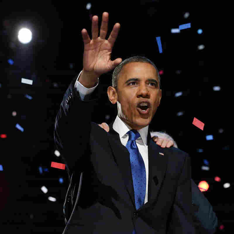President Obama delivers his re-election victory speech Wednesday morning in Chicago.