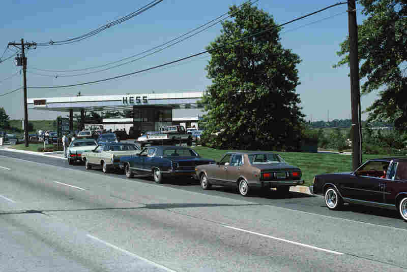 Cars line up at gas pumps during the OPEC shortage in 1979.