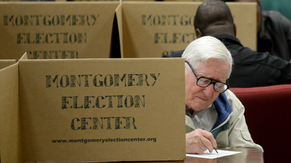 Mervel Parker fills out his ballot at Aldersgate United Methodist Church in Montgomery, Ala., on Tuesday. Alabama is one of nine states with a history of discrimination that the Voting Rights Act requires to obtain pre-clearance before changing any election procedures. (AP)