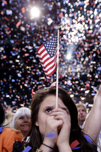 Confetti falls over supporters at the end of President Obama's victory speech early Wednesday in Chicago.