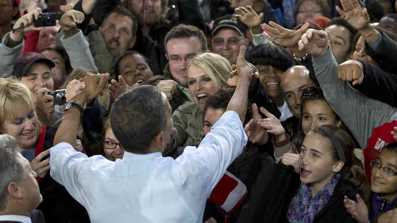 President Obama greets the crowd after a Sept. 22 speech in Milwaukee.