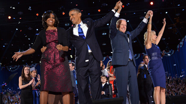 The Obamas and Bidens as they celebrated early Wednesday in Chicago.