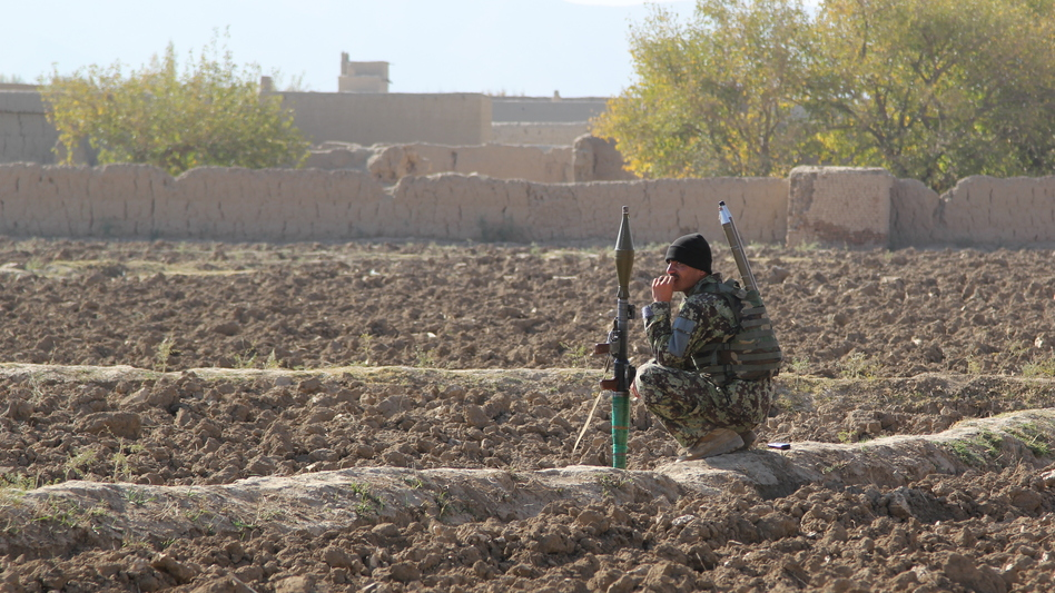 Afghan National Army soldier in one of the quieter parts of Logar Province. (NPR)