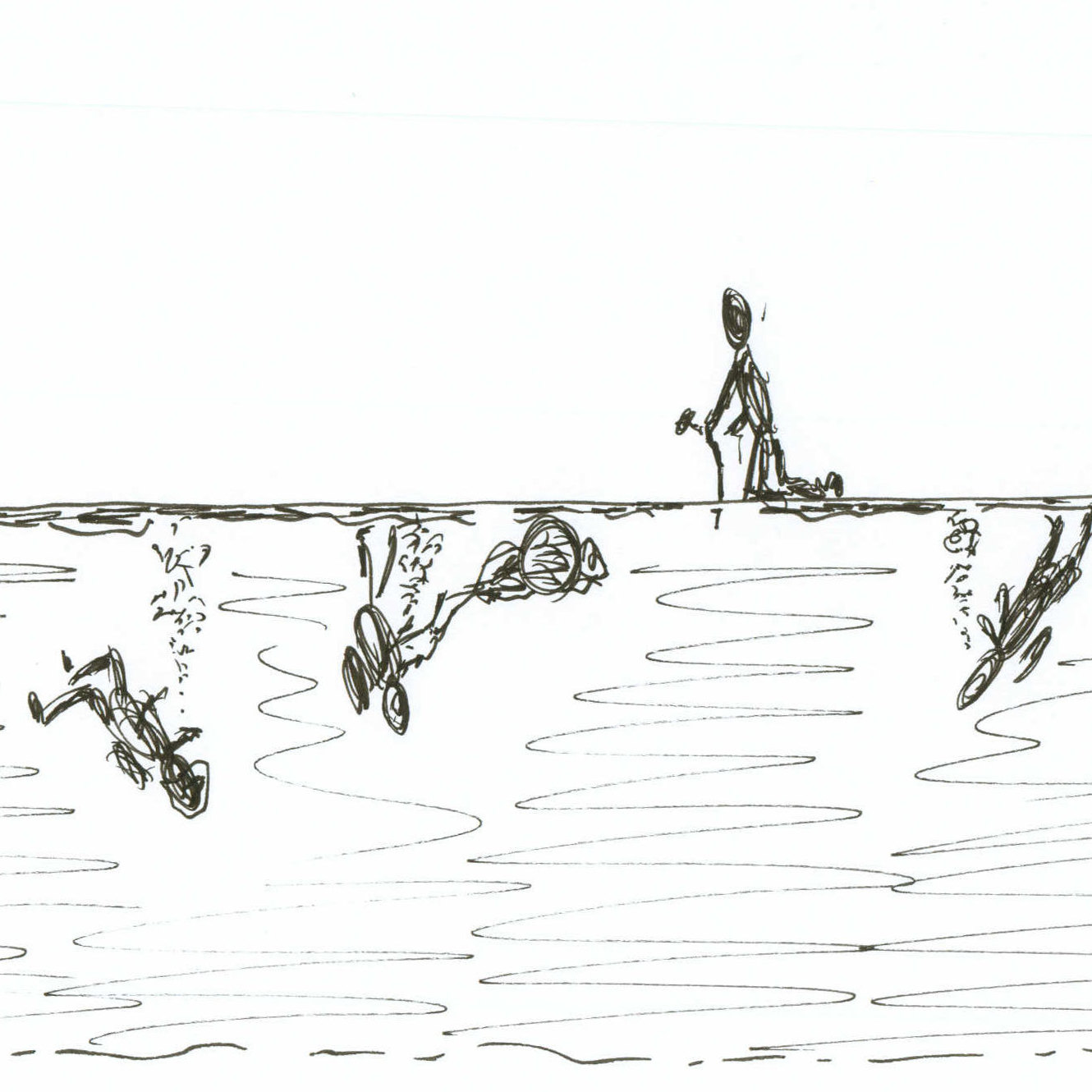 Drawing of divers underwater.