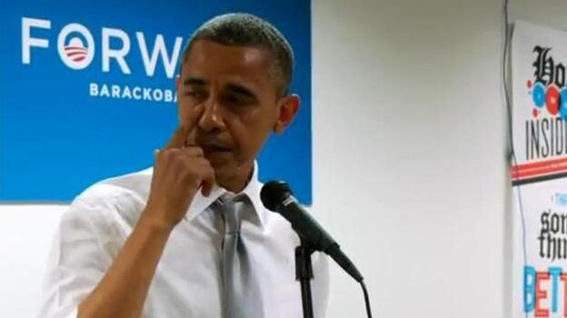 President Obama tearing up a bit as he thanks campaign workers. (Obama campaign video)