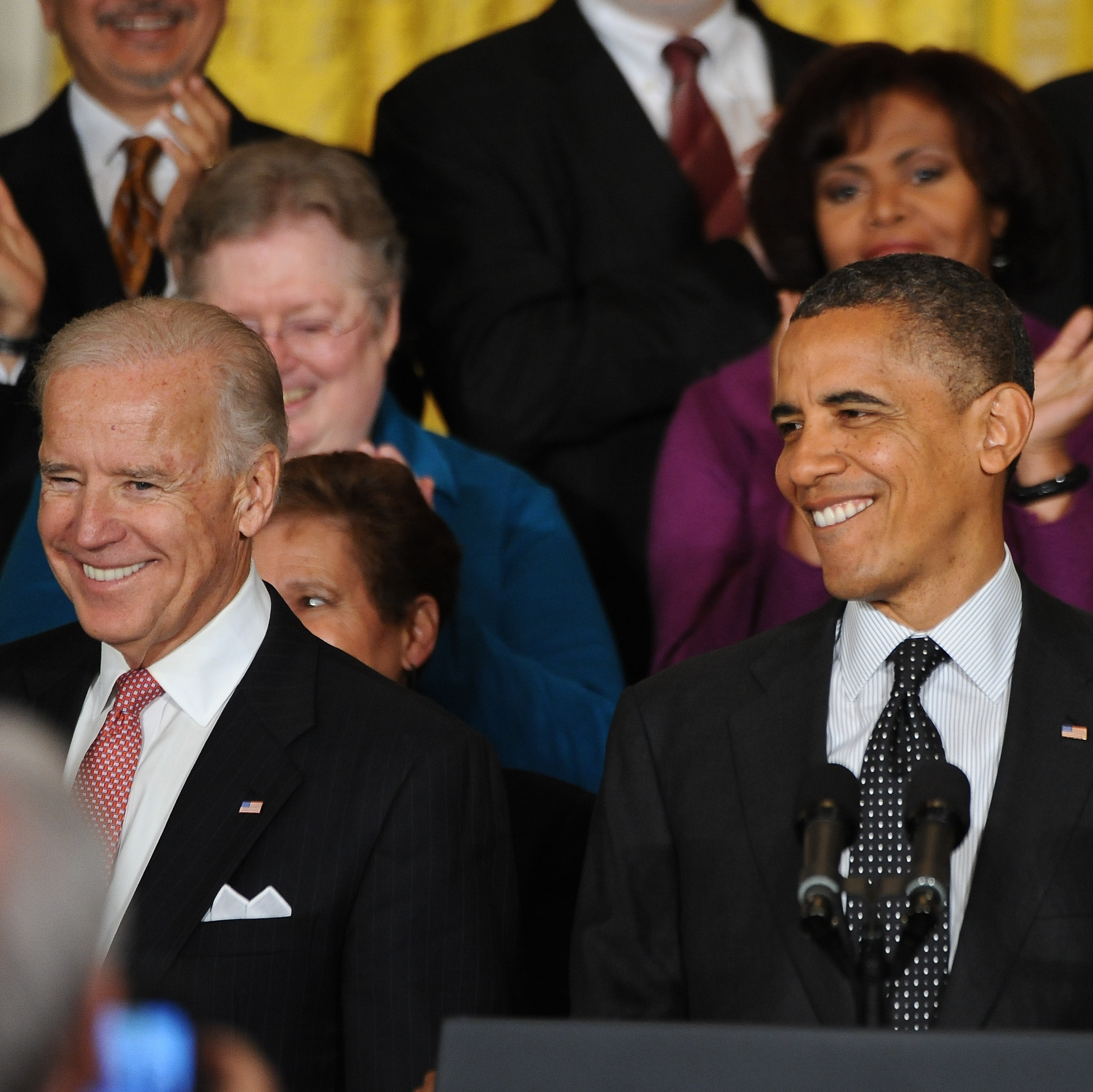 President Obama and Vice President Biden as they were welcomed at the White House this afternoon.