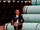 President Obama speaks at the southern site of the Keystone XL pipeline in May in Cushing, Okla. Obama is under pressure to make a decision on the future of the pipeline during his second term.