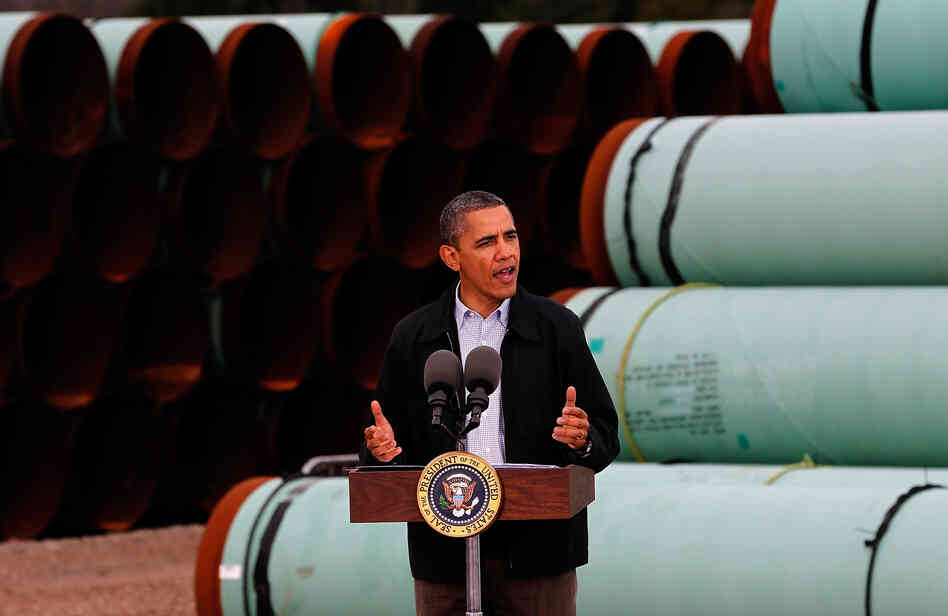 President Obama speaks at the southern site of the Keystone XL pipeline in May in Cush