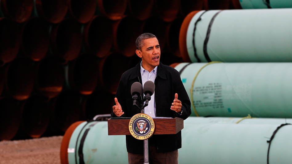 President Obama speaks at the southern site of the Keystone XL pipeline in May in Cushing, Okla. Obama is under pressure to make a decision on the future of the pipeline during his second term. (Getty Images)